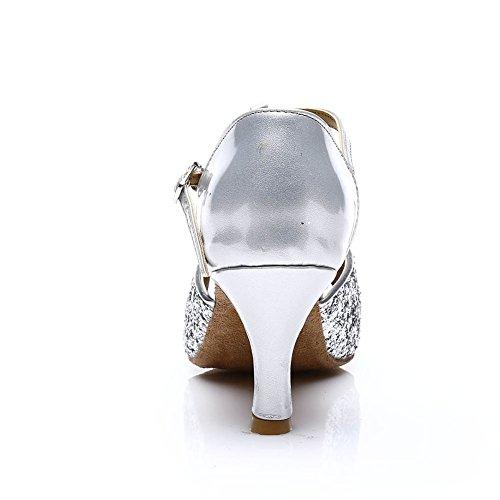 HROYL Damen Tanzschuhe/Latin Dance Schuhe Satin Ballsaal Modell-D7-216 Silber EU39 - 3