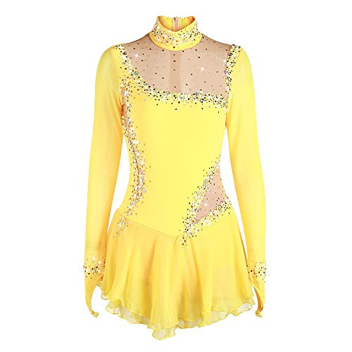 Gymnastik Rhythmische Kostüm Muster - Rhythmische Gymnastik-Trikots Frauen, Mädchen Schnelltrocknend Atmungsaktiv Langarm Gelb Skating Wear Hohe Elastizität Professionelle Wettbewerb Eiskunstlaufkleid ( Color : Yellow , Size : Child8 )