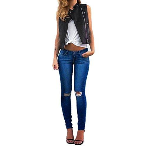 YunYoud Mode Damen Weste Beiläufig Irregulär Mantel Reißverschluss Ärmellos Jacke Einfarbig Kurze Weste Revers Tops Bluse (S, Schwarz) (Leder Ärmellose)