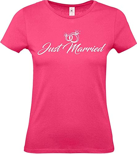 Lady T-Shirt, Just Married Hochzeit Liebe Ringe, pink, XS -