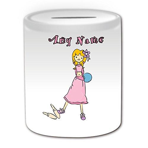 Personalisiertes Geschenk–Bowling Spardose (Sport Mädchen Design Thema, weiß)–alle Nachricht/Name auf Ihre einzigartige–Zehn Pin Ball (Personalisierte Bowling Ball)
