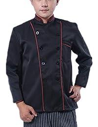 NiSengs Unisex Giacca da Chef Elegante Red Rim Design Divise da Cuoco con  Pocket Uniformi per 14401718e960