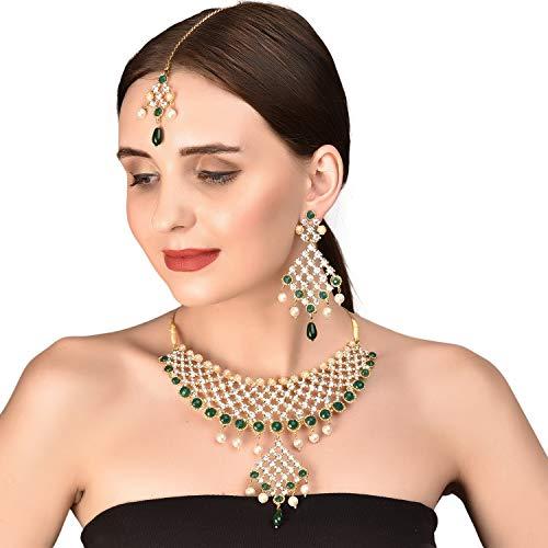 Touchstone, Halskette mit künstlichen Smaragd-Perlen im indischen Bollywood Stil, Brautschmuck, Schmuck für Damen, goldfarben (Perlen Indisches Schmuck)