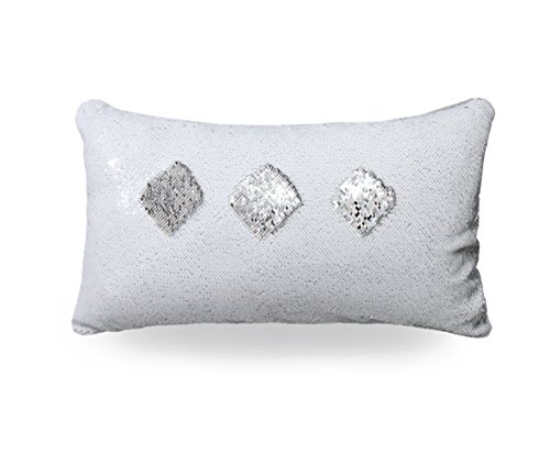 """TRLYC 12""""x24"""" Silver and White Throw Pillow with Insert,Rectangle Two-color Decorative Paillette Pillow Case Glitter Mermaid Sequins Cushion Cover Christmas Gift Throw Pillow Cover"""