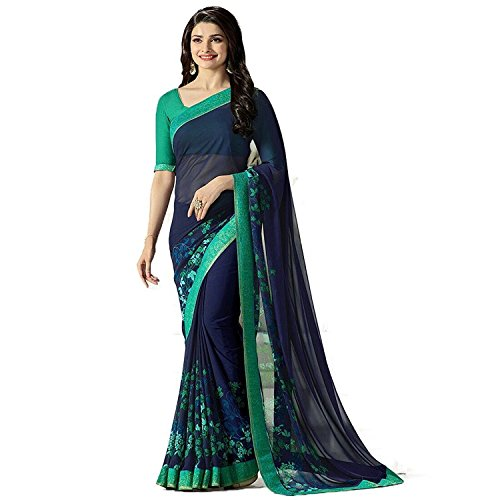 Jashvi Creation Women\'s Multi-Coloured Georgette Sarees With Blouse Piece (JC_NEVY_15)