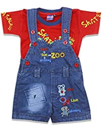 274a572095 Kid s Care Baby Boy Baby Girl Denim Dungree Set with Half Sleeves Printed T- Shirt