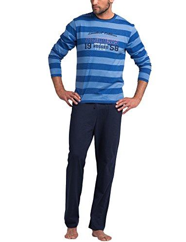 Rossli SAM-PY 076 Schlafanzug Herr Nachtwäsche Langarm Rundhals Aufdruck Gestreift Set Zweiteilig, blau,L