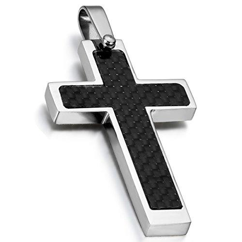 Cupimatch Edelstahl Kohlenstoff Kreuz Anhänger mit Strass, 55cm Kette Halskette für Herren Damen, schwarz silber