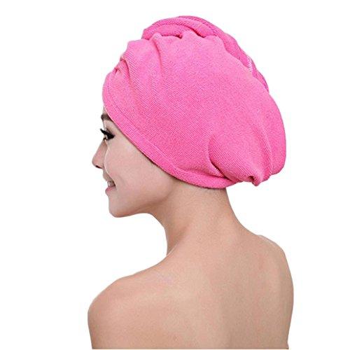 Transer Badetuch-Haartrocknerhaube aus Mikrofaser, schnell trocknend, Kopfbandmütze als Badezimmer-Accessoire für Damen Einheitsgröße hot pink