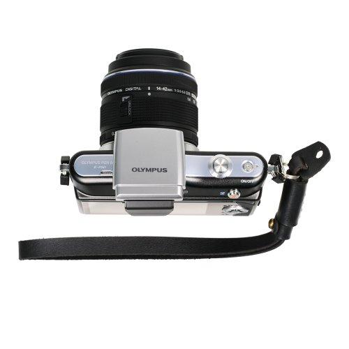 Foto & tech nero in vera pelle regolabile cinghia da polso per fotocamera Sony NEX Leica Canon, Nikon, Panasonic, Fujifilm, Olympus, Pentax Samsung Mirrorless fotocamere compatte