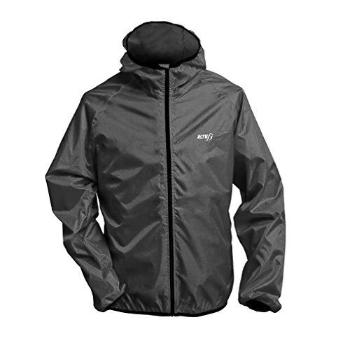 Altus Unisex Ultraleicht Regenjacke Funktionsjacke 150 Gramm Gr. S M L XL XXL schwarz mit integrieter Tasche (XXL) -