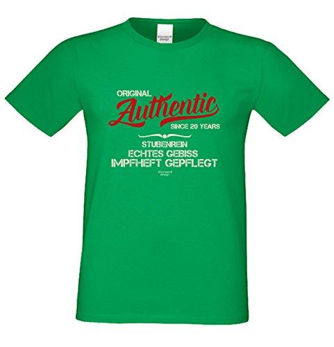 Niveuvolles Designer Sprüche-Shirt als Top Geschenke-Idee für alle Menschen mit Stil Motiv: Authentic Since 20 Years Farbe: hellgrün Hellgrün