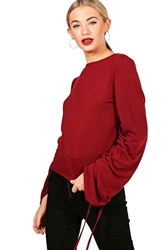 Du vin Femmes Nicole Oversized Rouched Sleeve Jumper Du vin