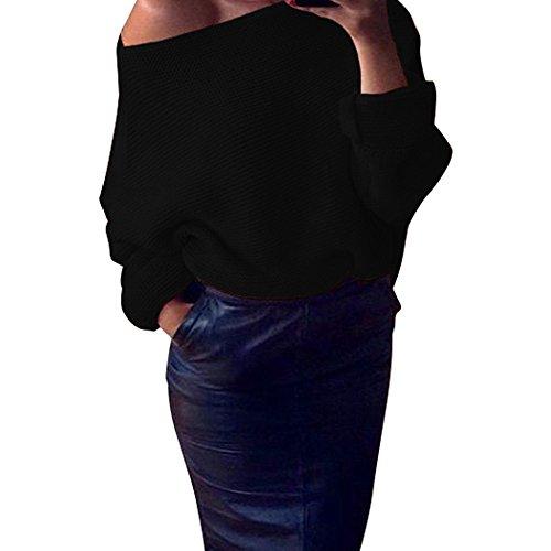 Femmes Femmes Loose Shoulder Chunky Knit Sweater, Knitted Surdimensionné Pulls Tops Noir