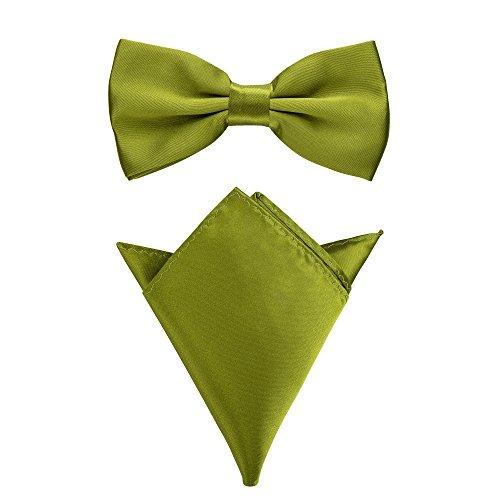 Rusty Bob - Fliege mit Einstecktuch in verschiedenen Farben (bis 48 cm Halsumfang) - zur Konfirmation, zum Anzug, zum Smoking - im 2er-Set (Olivgrün)