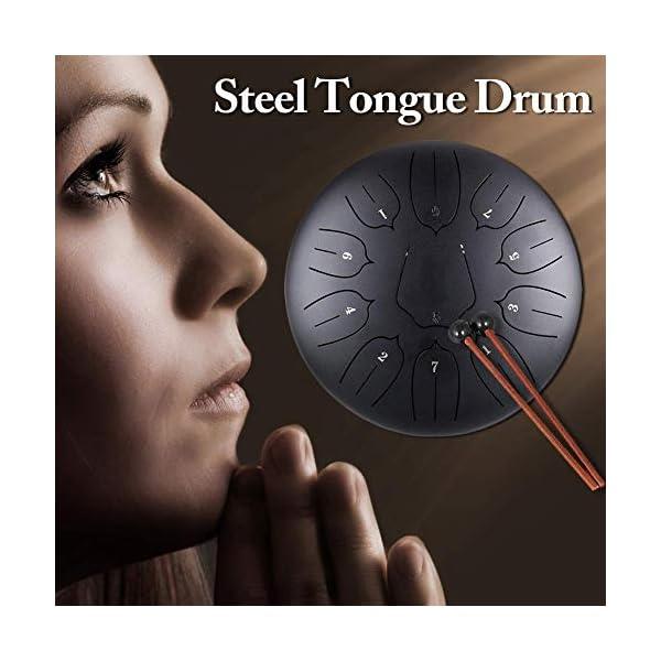 Besthuer Tambor Metálico de Lengüetas Acero Tambor de la Lengua Tongue Drum nstrumentos 10 Pulgadas con 11 Teclas de… 1