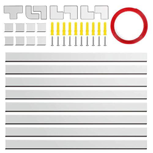 Canalina cavi,126 coperture in PVC per cavi elettrici,kit di montaggio a parete con diversi canali per tutti i tipi di cavi domestici/per apparecchi elettronici 8 pezzi x L15.7*L0.98*A0.59,bianco