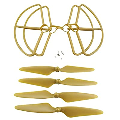 Sharplace 4 Pieces Propeller Prop Protect Frame Guard Cover Ring + Propellers for Hubsan H501S RC Helicopters Airplane