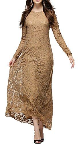 Arkind Robe Mousline Dentelle Longue de Bal Costumé ou Danse Soirée Robe Cérémonie de Mariage pour Femme Kaki