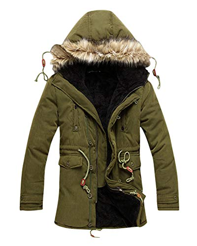 Giubbotto parka uomo invernali caldo giacca cappuccio vento imbottita moda foderato velluto giacca con cappuccio verde xl