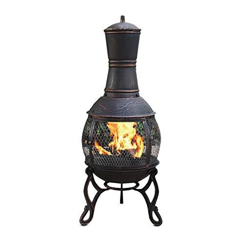 *Mari Garden Terrassen-Ofen Aragon, Gusseisen, mit Grill und Regenabdeckung, 89cm, Gartenofen Gartenkamin Kamin Feuerstelle Feuerkorb, Bronzefarben*