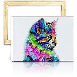 ufengke Kit Pintura de Diamantes 5D Gato Colorido Punto de Cruz Diamante Completo DIY para Amantes del Arte, con Marco de Madera, Diseño 25x35cm
