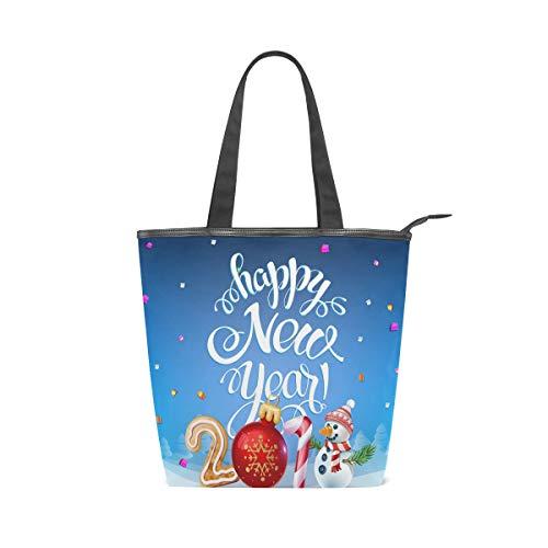 Jeansame Canvas Tote Bag Damen Shopper Top Griff Taschen Schultertaschen mit Reißverschluss Weihnachten Neujahr Winter Niedlich Schneemann