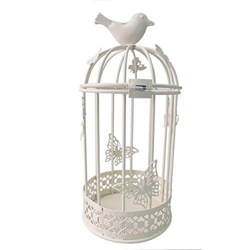 jarown Vogelkäfig aus Metall Deko Teelichthalter Laternen Leuchter Home Hochzeit Tisch Schreibtisch Decor weiß
