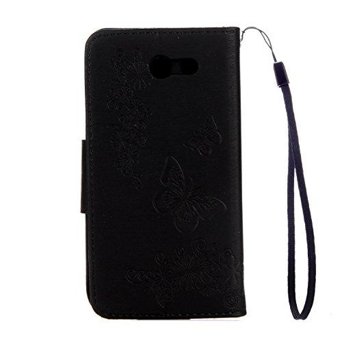 Cover Samsung Galaxy J3 2016, Alfort Custodia Protettiva in Pelle Verniciata Goffrata Farfalle e Fiori Alta qualità Cuoio Flip Stand Case per la Custodia Ci sono Funzioni di Supporto e Portafoglio Chi Nero