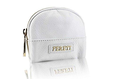 FERETI Porte monnaie Blanc en cuir pour femme avec fournitur or fabriqué à la main