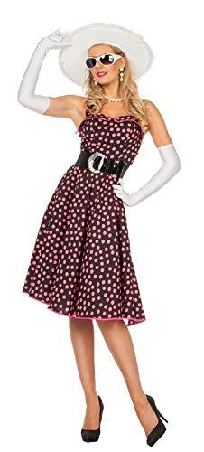 Boogie Woogie Kostüm - narrenkiste W4532-38 schwarz-pink Damen Petticoatkleid Boogie Woogie Gr.38