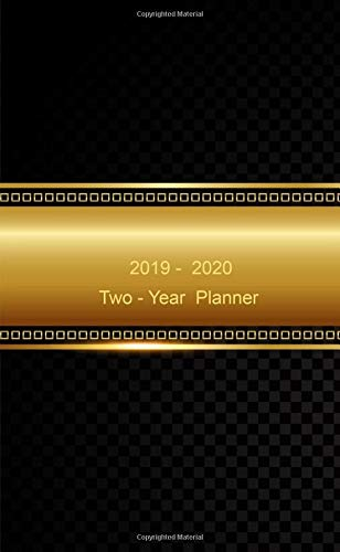 """Two - Year Planner. 2019 - 2020: Monthly Pocket Planner: 24-Month Calendar , Notes and Phone book, U.S. Holidays, Size : 4.0"""" x 6.5"""", Hand Lettering Notebook ( Gold Cover )"""