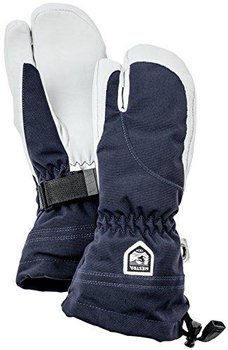Hestra Damen Ski-Handschuhe, extra warm, Heli-Leder, Winter, kalte Wetter, 3-Finger, Fäustlinge, Damen, Marineblau/Offwhite, 6