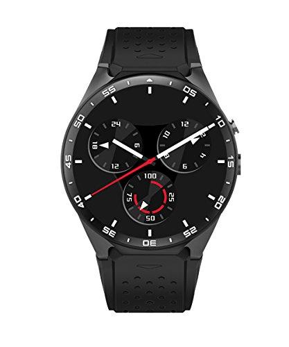 KW88 3G Smartwatch Intelligente Orologio, contapassi cardiaca GPS Rate Monitor, Android 5.1 OS, Quad Core sostegno 2.0MP Bluetooth SIM WiFi, Google Map, Google Play (Nero)
