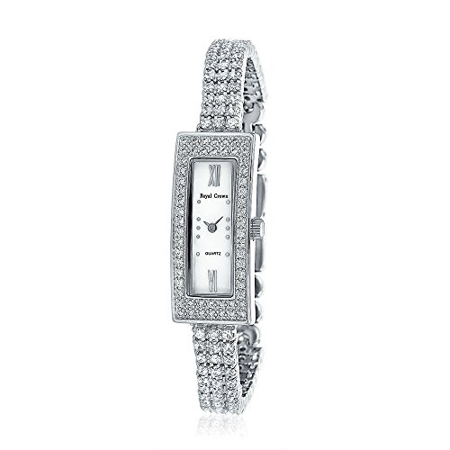 Bling Jewelry Long Rectangle MOP Dial 3 Row CZ Bridal Watch Rhodium Plated