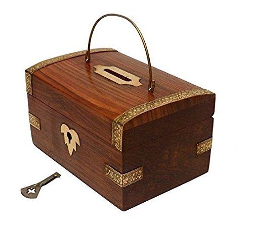 New Year Verkauf Crafts 'Man handgefertigt aus Holz Geld Bank. Eine Spardose mit Coin Bank 12,7x 8,9cm mit Schlüssel... Medaille Aufbewahrungsbox Holz Piggy Bank