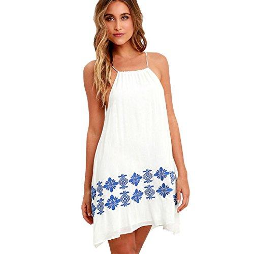 Amlaiworld damen mit aufdruck Blumen Strand kleider elegant Trägertop Kleid mode locker kleidung für Mädchen (S, Weiß) (Größe Weiße Blumen-mädchen-kleider 16)