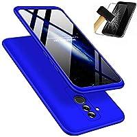 Huawei Mate 20 Lite Hülle + Panzerglas, JINICHANGWU 360° Rundumschutz-Schale PC Full-Cover Anti-Kratzer Handyhülle Schutzhülle Case für Huawei Mate 20 Lite (Blau)
