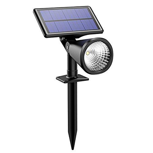 100 Lúmenes Foco Solar Impermeable IP de VicTsing, Proporciona unas 10 horas de luz alta y 20 horas de luz media o tenue Para Calzada, Patio, Cesped, Pathway, Jardín etc. 1 Pack