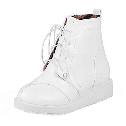 Moyenne Rond Plates Lacets Bout Confortables de Talons Plateforme Bottes et Compensees Cheville Simple UH Blanc à avec Femmes xOCqwg0gI1