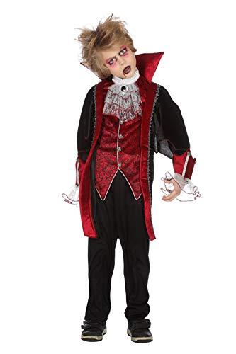 Wilbers GRAF Dracula Vampirkostüm Kostüm Set Vampir Kinder Halloween Karneval 116-176 Rot/Schwarz 140/152 (10-12 Jahre)