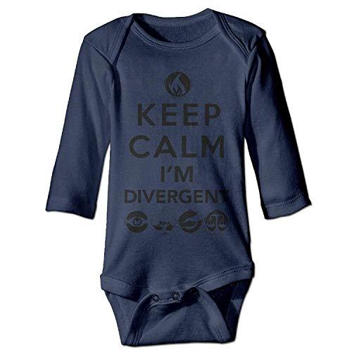 MSGDF Unisex Toddler Bodysuits Keep Calm I'm Divergent Boys Babysuit Long Sleeve Jumpsuit Sunsuit Outfit Navy Lace Velvet Romper