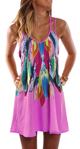 JESSIEKERVIN 002 Frauen Ärmelloses Buntes Federn-Druck-Doppelt-Bügel-Halter-T-Shirt Kleid (Color : Pink, Size : XL)