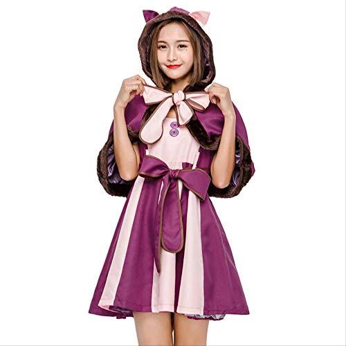Katze Smiley Kostüm - HG-amaon Lila Cosplay-Anzug, Halloween-Smiley-Katze Erwachsenenparty Eltern-Kind-Kostüm L Erwachsener