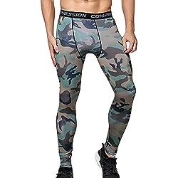 Compresión Leggings Camuflaje Polainas Apretadas Larga de los Hombres de Camo Deportes Pantalones L