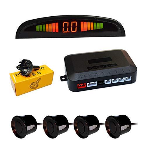 Detector de Radar Sistema de Aparcamiento con 4 Sensores de Coche,XYEU Sensor Aparcamiento con Alarma Sonido y Pantalla LED de Visión Marcha atrás