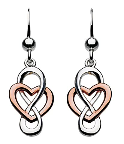 Heritage Sterling Silver and Rose Gold Plate Celtic Looped Heart Drop (Cuore Rosa Orecchini)