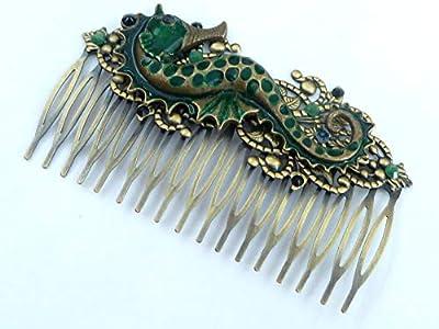 Peigne à cheveux large avec émail d'hippocampe en bronze vert