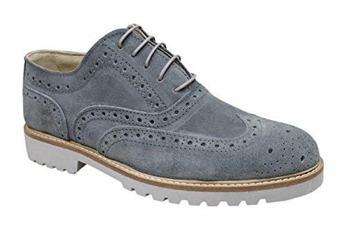 Scarpe francesine uomo grigio chiaro casual eleganti artigianali made in