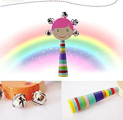 Cdet 1X Wooden Handbell Rattles Colorful Cute Doll Silver Bell Musical Educational Wooden Instrument Toy for Sound Keepsake Toddler Baby Random Color : everything £5 (or less!)